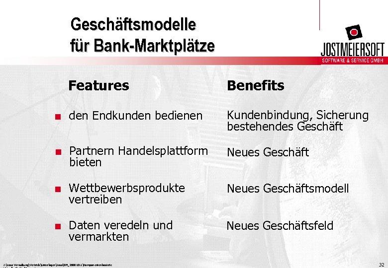 Geschäftsmodelle für Bank-Marktplätze Features Benefits . den Endkunden bedienen Kundenbindung, Sicherung bestehendes Geschäft .