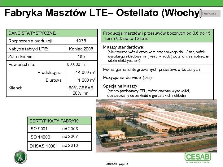 Fabryka Masztów LTE– Ostellato (Włochy) DANE STATYSTYCZNE Rozpoczęcie produkcji: 1975 Nabycie fabryki LTE: Koniec