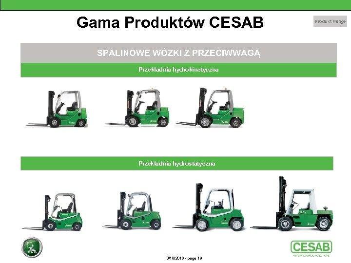 Gama Produktów CESAB SPALINOWE WÓZKI Z PRZECIWWAGĄ Przekładnia hydrokinetyczna Przekładnia hydrostatyczna 3/18/2018 - page
