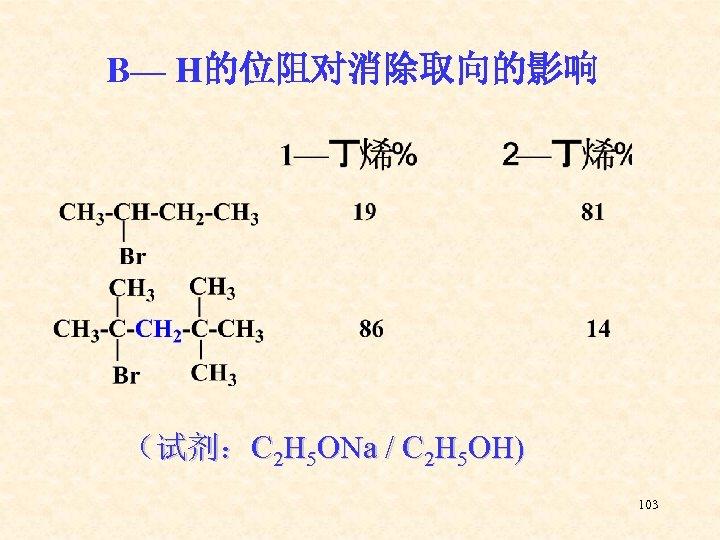 Β— H的位阻对消除取向的影响 (试剂:C 2 H 5 ONa / C 2 H 5 OH) 103