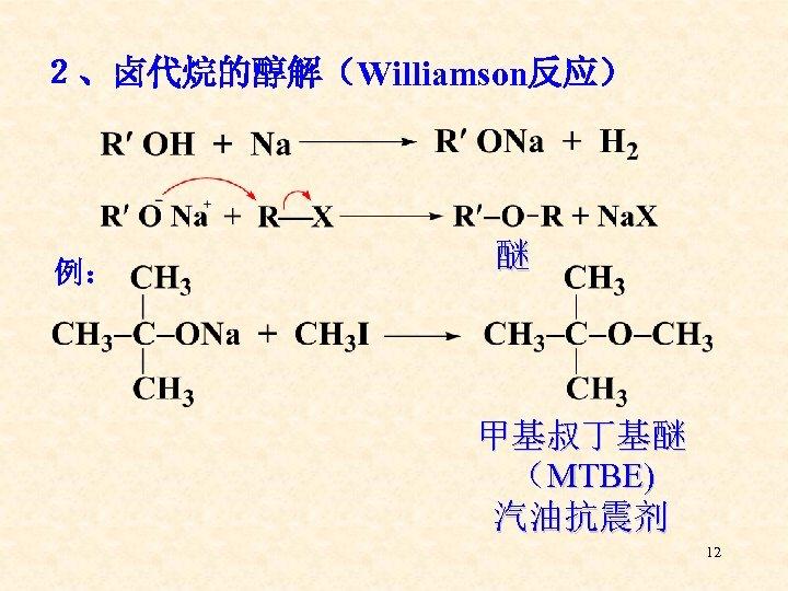 2、卤代烷的醇解(Williamson反应) 例: 醚 甲基叔丁基醚 (MTBE) 汽油抗震剂 12