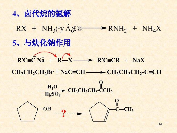4、卤代烷的氨解 5、与炔化钠作用 14