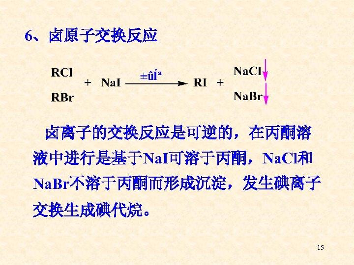 6、卤原子交换反应 卤离子的交换反应是可逆的,在丙酮溶 液中进行是基于Na. I可溶于丙酮,Na. Cl和 Na. Br不溶于丙酮而形成沉淀,发生碘离子 交换生成碘代烷。 15