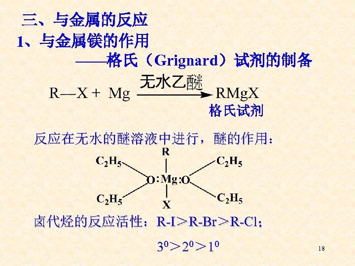 三、与金属的反应 1、与金属镁的作用 ——格氏(Grignard)试剂的制备 格氏试剂 反应在无水的醚溶液中进行,醚的作用: 卤代烃的反应活性:R-I>R-Br>R-Cl; 30> 20> 10 18