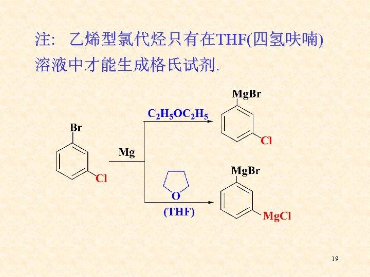 注: 乙烯型氯代烃只有在THF(四氢呋喃) 溶液中才能生成格氏试剂. 19