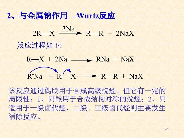 2、与金属钠作用___Wurtz反应 反应过程如下: 该反应通过偶联用于合成高级烷烃。但它有一定的 局限性: 1、只能用于合成结构对称的烷烃; 2、只 适用于一级卤代烃,二级、三级卤代烃则主要发生 消除反应。 23