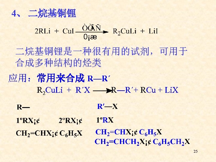 4、 二烷基铜锂是一种很有用的试剂,可用于 合成多种结构的烃类 应用:常用来合成 R—R΄ 应用: R 2 Cu. Li + R´X R―R´+ RCu