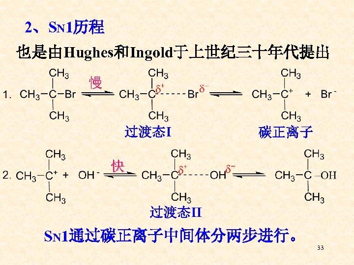 2、SN 1历程 也是由Hughes和Ingold于上世纪三十年代提出 慢 过渡态Ⅰ 碳正离子 快 过渡态Ⅱ SN 1通过碳正离子中间体分两步进行。 33
