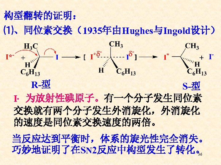 构型翻转的证明: ⑴、同位素交换(1935年由Hughes与Ingold设计) R-型 S-型 I﹡ 为放射性碘原子。有一个分子发生同位素 交换就有两个分子发生外消旋化,外消旋化 的速度是同位素交换速度的两倍。 当反应达到平衡时,体系的旋光性完全消失。 巧妙地证明了在SN 2反应中构型发生了转化。 36