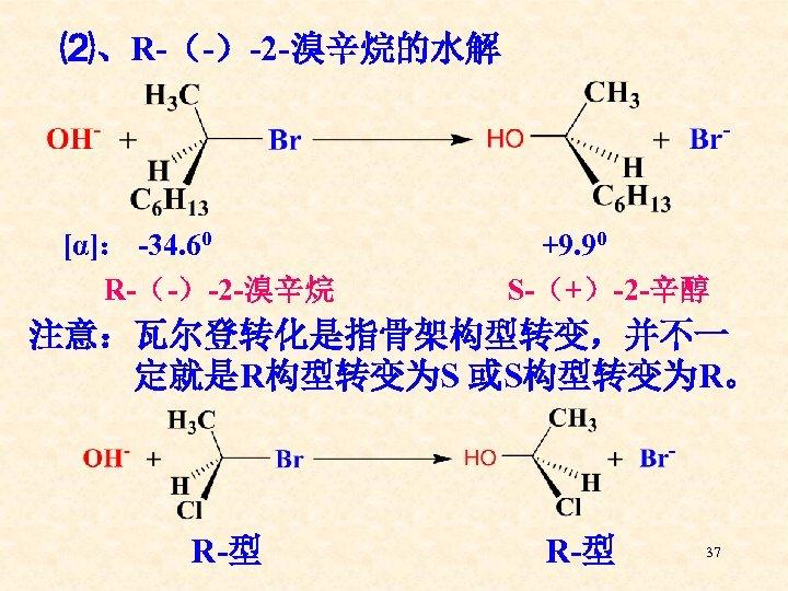 ⑵、R-(-)-2 -溴辛烷的水解 [α]: -34. 60 R-(-)-2 -溴辛烷 +9. 90 S-(+)-2 -辛醇 注意:瓦尔登转化是指骨架构型转变,并不一 定就是R构型转变为S 或S构型转变为R。