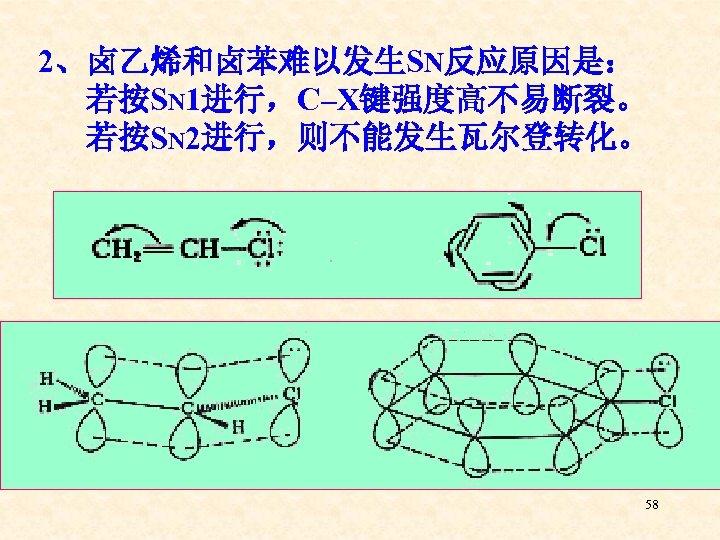 2、卤乙烯和卤苯难以发生SN反应原因是: 若按SN 1进行,C–X键强度高不易断裂。 若按SN 2进行,则不能发生瓦尔登转化。 58