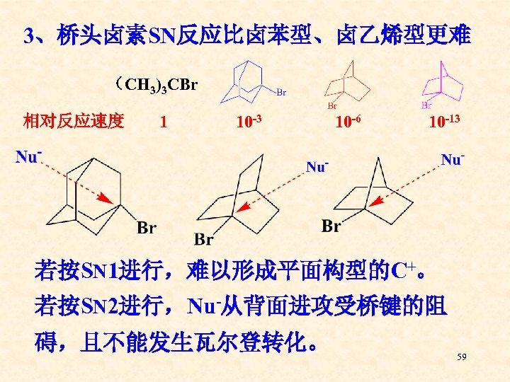 3、桥头卤素SN反应比卤苯型、卤乙烯型更难 (CH 3)3 CBr 相对反应速度 1 10 -3 10 -6 10 -13 若按SN 1进行,难以形成平面构型的C+。