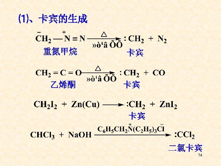 ⑴、卡宾的生成 重氮甲烷 乙烯酮 卡宾 卡宾 卡宾 二氯卡宾 74