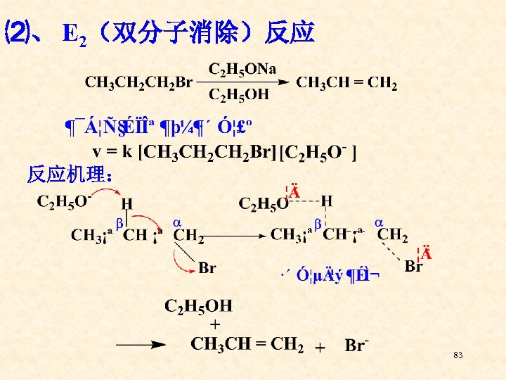 ⑵、 E 2(双分子消除)反应 反应机理: 83