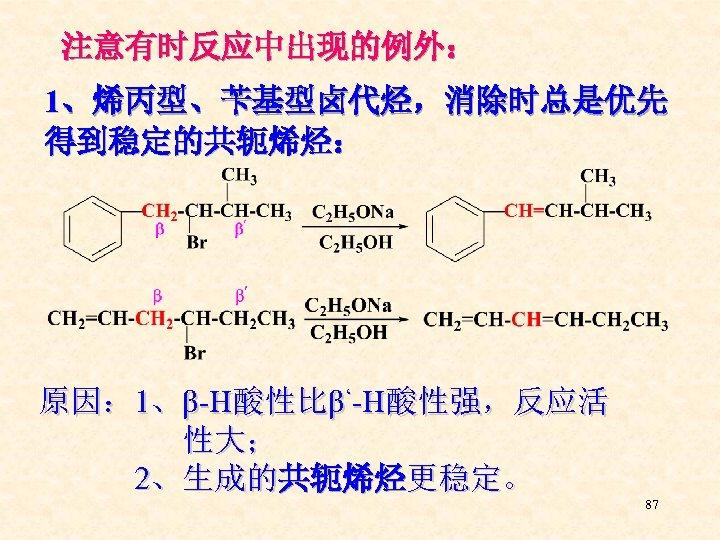 注意有时反应中出现的例外: 1、烯丙型、苄基型卤代烃,消除时总是优先 得到稳定的共轭烯烃: 原因: 1、β-H酸性比β'-H酸性强,反应活 性大; 2、生成的共轭烯烃更稳定。 87