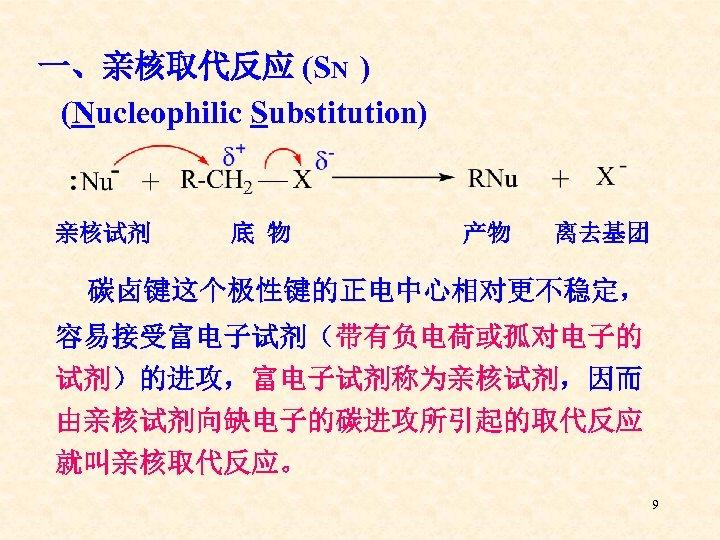 一、亲核取代反应 (SN ) (Nucleophilic Substitution) 亲核试剂 底 物 产物 离去基团 碳卤键这个极性键的正电中心相对更不稳定, 容易接受富电子试剂(带有负电荷或孤对电子的 试剂)的进攻,富电子试剂称为亲核试剂,因而 由亲核试剂向缺电子的碳进攻所引起的取代反应