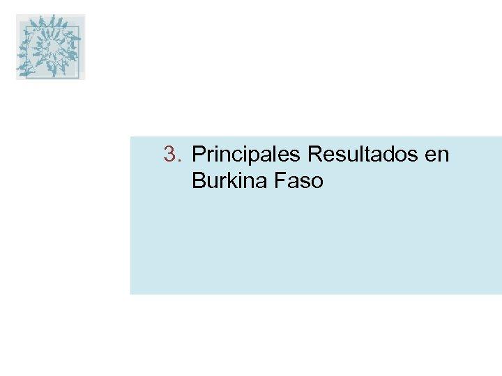 3. Principales Resultados en Burkina Faso