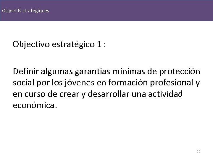 Objectifs stratégiques Objectivo estratégico 1 : Definir algumas garantias mínimas de protección social por