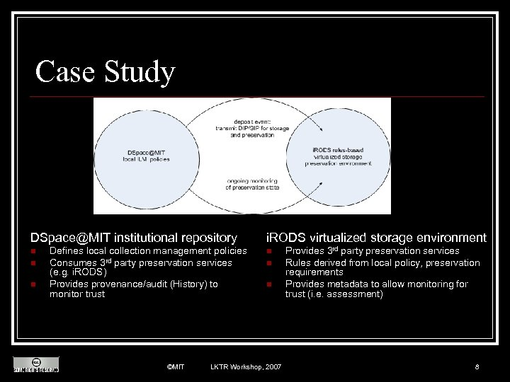 Case Study DSpace@MIT institutional repository n n n Defines local collection management policies Consumes