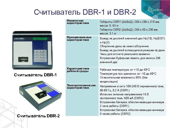 Считыватель DBR-1 и DBR-2 Физические характеристики Функциональные характеристики Считыватель DBR-2 Вывод на дисплей значений
