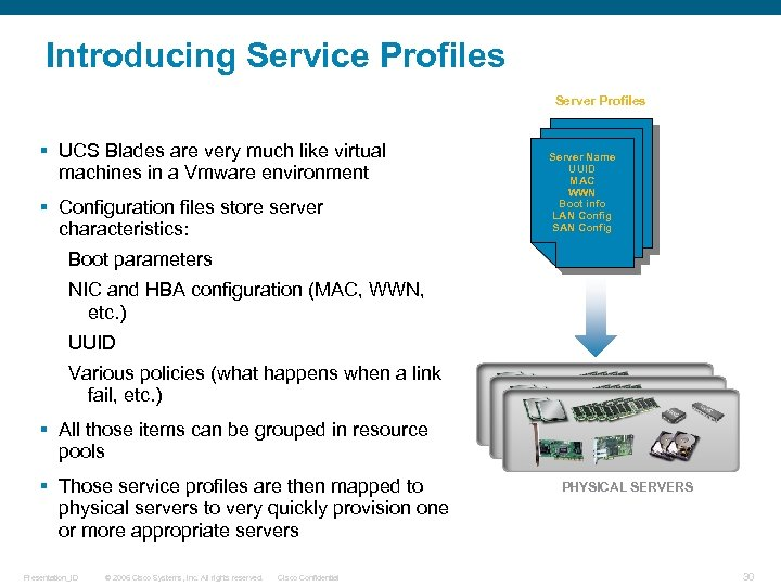 Introducing Service Profiles Server Profiles § UCS Blades are very much like virtual machines