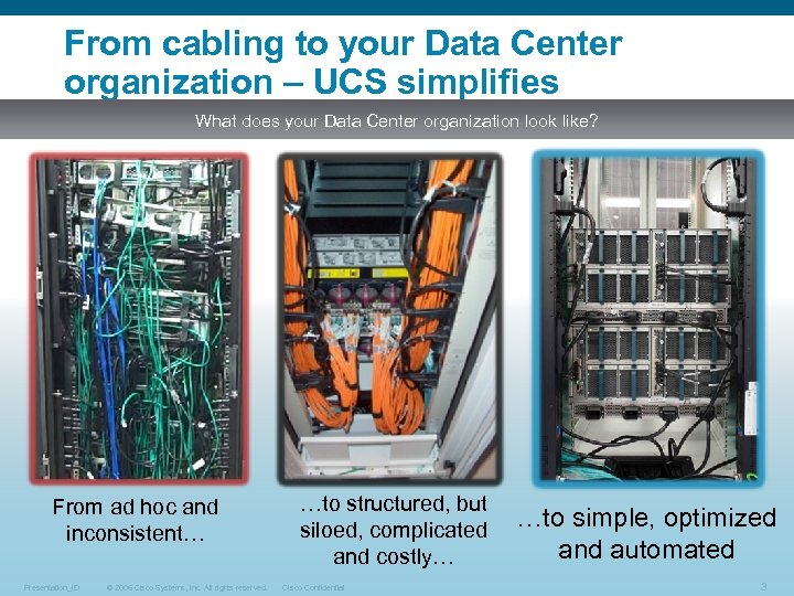 From cabling to your Data Center organization – UCS simplifies What does your Data