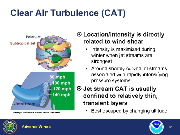 Clear Air Turbulence (CAT) ¤ Location/intensity is directly related to wind shear • Intensity