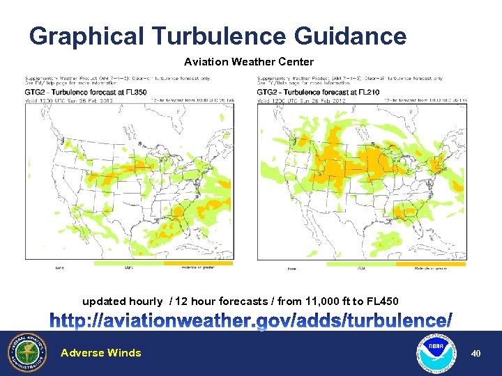Graphical Turbulence Guidance Aviation Weather Center updated hourly / 12 hour forecasts / from