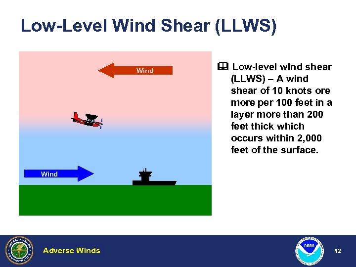 Low-Level Wind Shear (LLWS) Wind Low-level wind shear (LLWS) – A wind shear of
