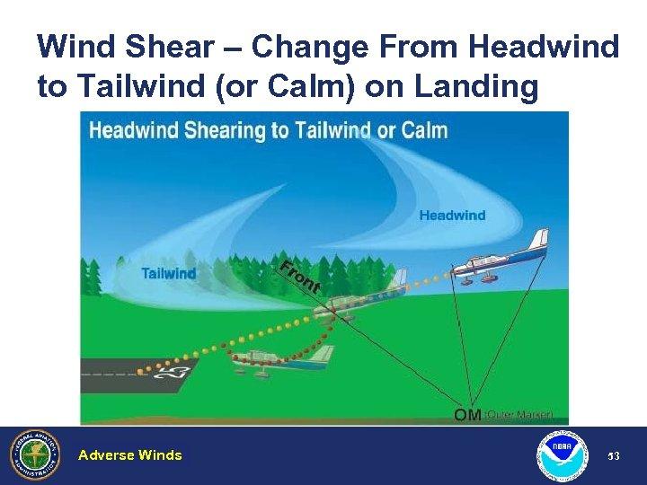 Wind Shear – Change From Headwind to Tailwind (or Calm) on Landing Adverse Winds