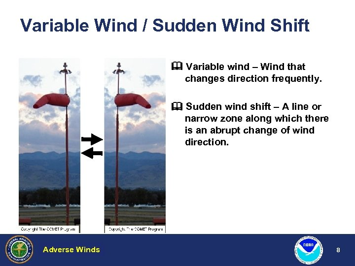 Variable Wind / Sudden Wind Shift Variable wind – Wind that changes direction frequently.