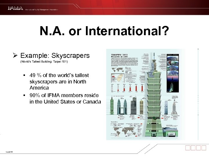 N. A. or International? Ø Example: Skyscrapers (World's Tallest Building: Taipei 101) § 49