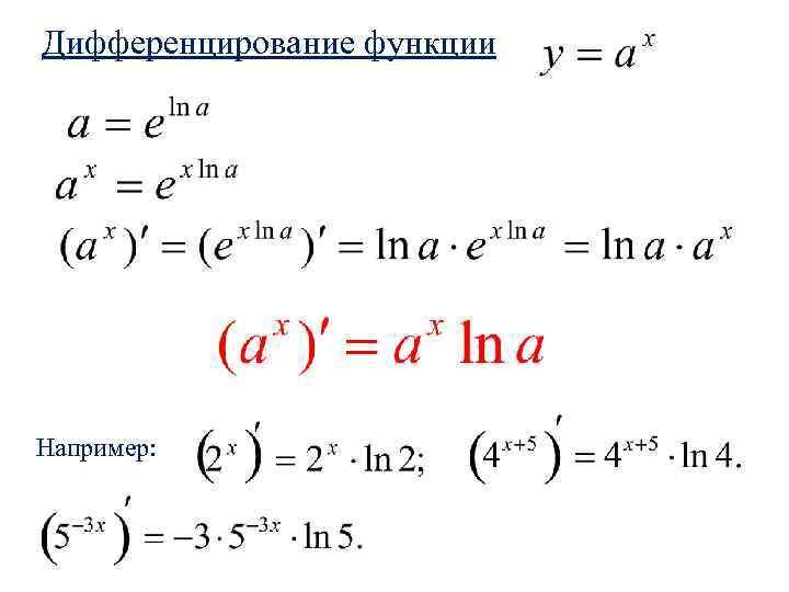 Дифференцирование функции Например:
