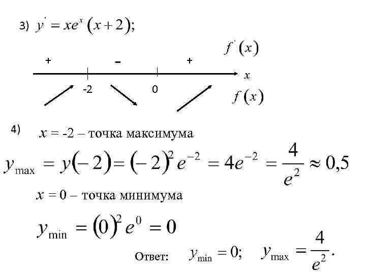 3) - + -2 4) + 0 х = -2 – точка максимума х