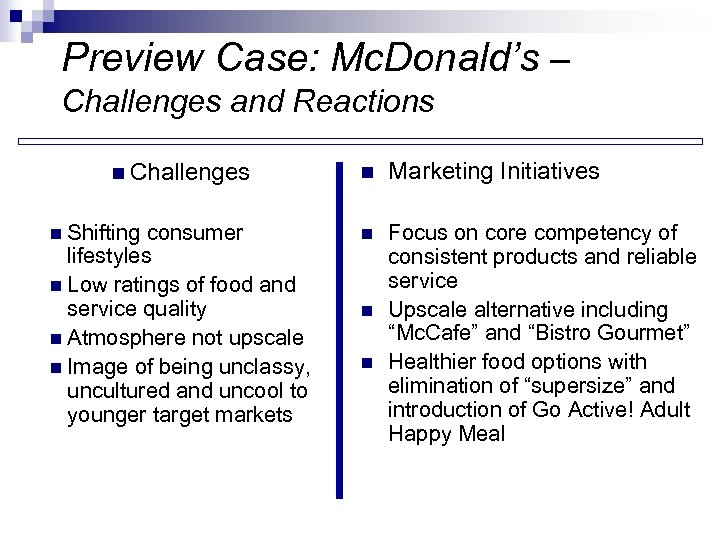Preview Case: Mc. Donald's – Challenges and Reactions n Challenges n Shifting consumer lifestyles