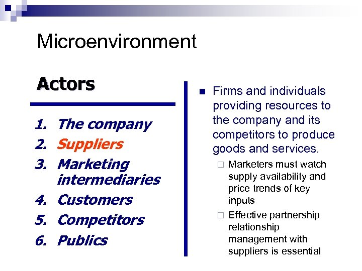 Microenvironment Actors 1. The company 2. Suppliers 3. Marketing intermediaries 4. Customers 5. Competitors