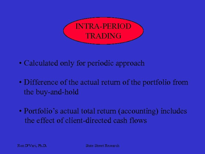 INTRA-PERIOD TRADING • Calculated only for periodic approach • Difference of the actual return