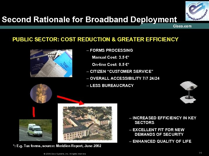 Second Rationale for Broadband Deployment PUBLIC SECTOR: COST REDUCTION & GREATER EFFICIENCY – FORMS
