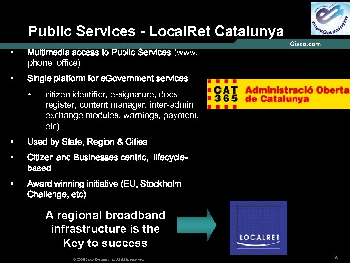 Public Services - Local. Ret Catalunya • Multimedia access to Public Services (www, phone,