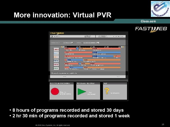 More innovation: Virtual PVR • 8 hours of programs recorded and stored 30 days