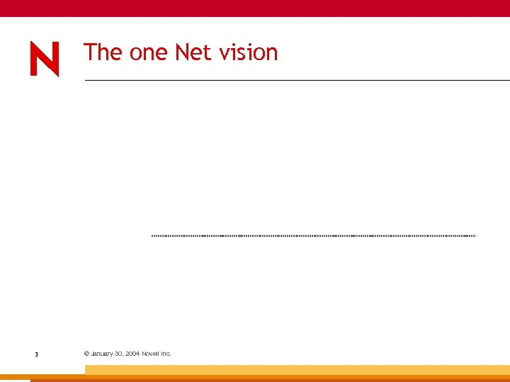 The one Net vision 3 © January 30, 2004 Novell Inc.