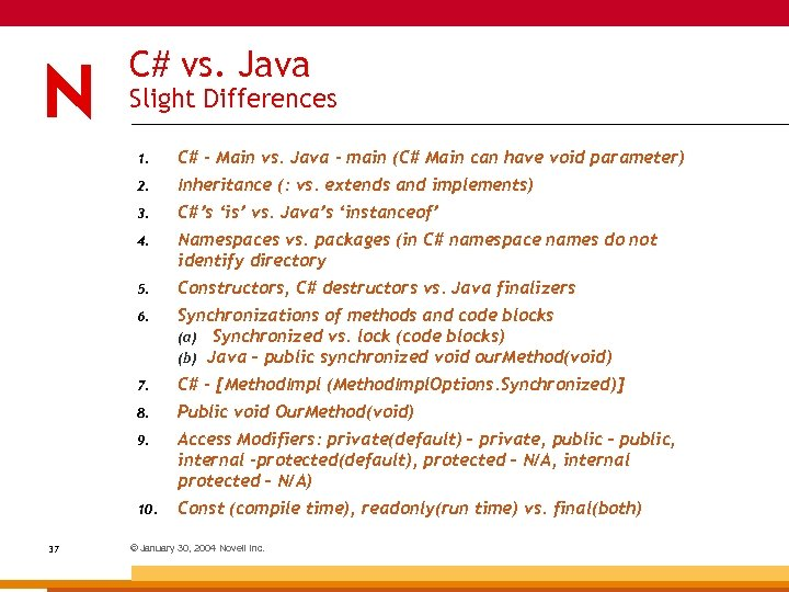 C# vs. Java Slight Differences 1. 2. Inheritance (: vs. extends and implements) 3.
