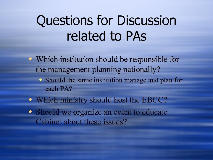 Questions for Discussion related to PAs w Which institution should be responsible for the