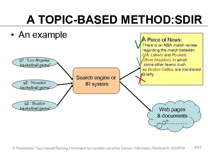 A TOPIC-BASED METHOD: SDIR • An example A Piece of News: q 1 :