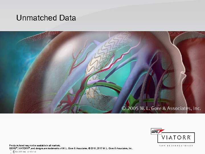 Unmatched Data Products listed may not be available in all markets. GORE®, VIATORR®, and