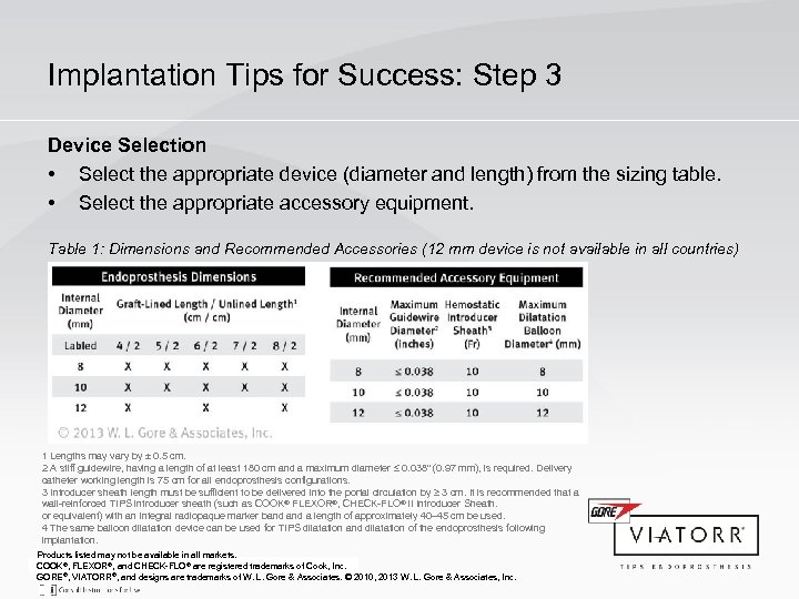 Implantation Tips for Success: Step 3 Device Selection • Select the appropriate device (diameter