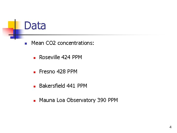 Data n Mean CO 2 concentrations: n Roseville 424 PPM n Fresno 428 PPM
