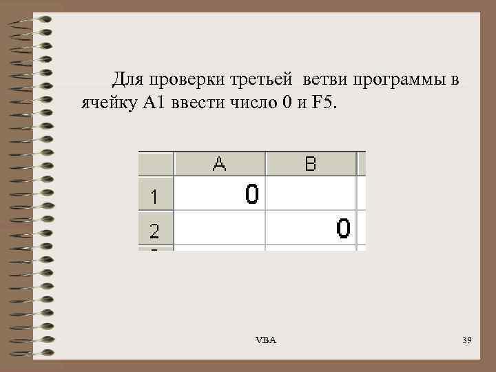 Для проверки третьей ветви программы в ячейку А 1 ввести число 0 и F