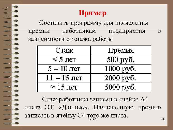 Пример Составить программу для начисления премии работникам предприятия зависимости от стажа работы в Стаж