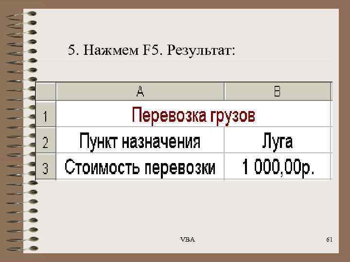 5. Нажмем F 5. Результат: VBA 61